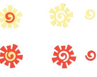 10 Sun cutout cut out  Paper Piecing, Embellishment Sunshine