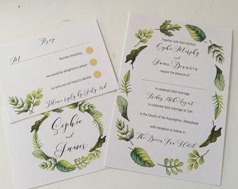 Sample Greenery Wedding Invitation