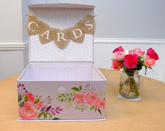 Love Always Decorative Floral Flowers Spotty Dotty Polka Dot Lilac Vintage Style  WEDDING CARDS BOX Suitcase Bunting