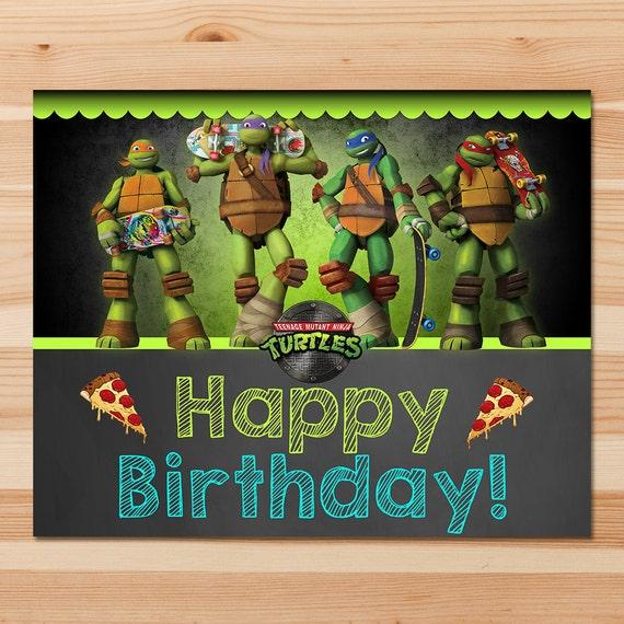 Teenage Mutant Ninja Turtles Birthday Sign - Green Chalkboard - Ninja Turtles Sign - Ninja Turtles Party - Ninja Turtles Party Printables