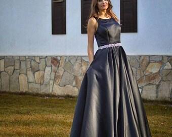 Formal Dress/Black Satin A-line Formal Dress/Prom Dress