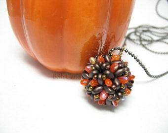 Fall Brown and Orange Dodecarizo beaded bead pendant