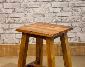 Solid Sheesham wood dining stool, small side table, or plant stand. IBF-218