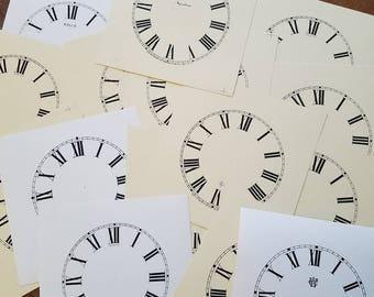 17 vintage nos paper clock faces