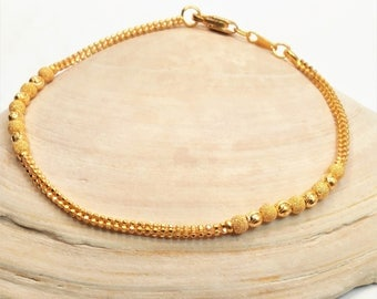 """GOLDSHINE Bracelet 22K 916 Solid Yellow Gold Hook Clasp 7""""  Simple BEAUTY 5.50gm"""