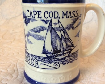Vintage Cape Code Massachusetts Windjammer Coffee Mug - Sail Boats out on Water - Blue and White Mug