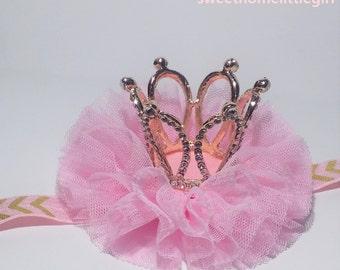 little girl crown, 1st birthday headband, crown headband baby, 1st birthday crown, tiara headband, princess tiara,pink tulle headband