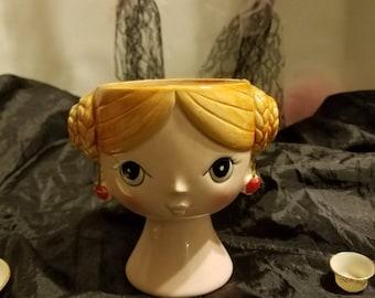 Japanese Enesco Designed Lady Head Vase