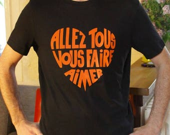 "Man T-shirt, round neck, black, Calligram ""Will all make you love"" orange 70 s size M"