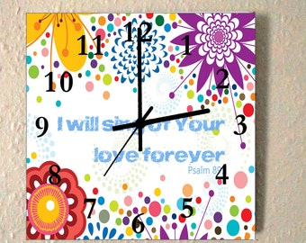Large christian wall clock Psalm 89:1