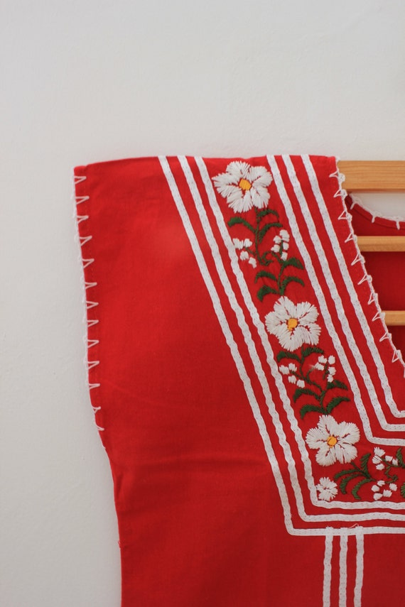 Red Embroidered Mexican Blouse /White flowers and ribbons  from Oaxaca.