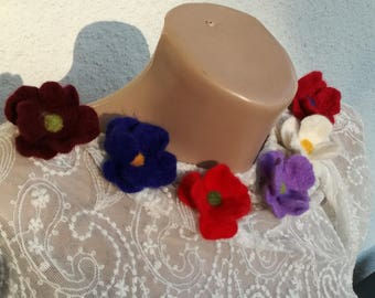 Felted flower 6  brooches