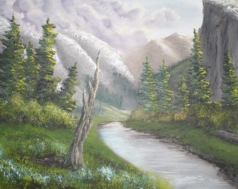 Oil painting landscape original - Valley Meadow