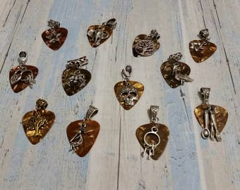 Brown guitar pick necklaces are charms/Choice of chain or cord/choice of bail, pick, and charm/Fender picks available