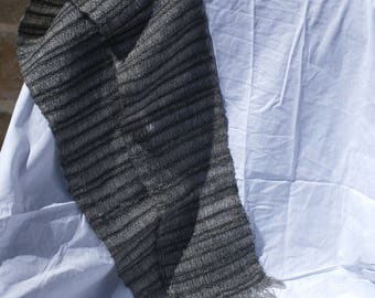 Black and grey lace scarf handmade alpaca wool mohair