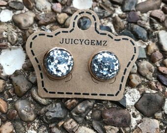 Silver confetti studs, drusy, druzy, drusy earrings, druzy earrings, Valentine's Day