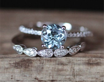 Solitaire Aquamarine Engagement Ring Set VS 7mm Round Cut Aquamarine Ring Half Eternity Milgrain Bezel Wedding Ring 14K White Gold Ring Set
