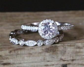 Classical Morganite Engagement Ring Set 5mm Round Cut Natural Morganite Ring Art Deco Full Eternity Wedding Ring Set 14K Rose Gold Ring Set