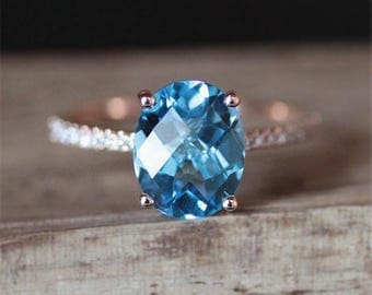 Blue Topaz Engagement Ring Natural 8*10mm Oval Cut Topaz Ring Half Eternity Diamonds Ring Stackable Ring 14K Rose Gold Ring Birthstone Ring