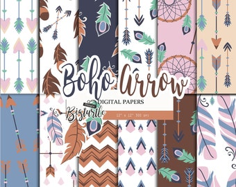 50% OFF SALE  Boho arrow Digital Paper pack, feather digital paper,Scrapbook Paper ,arrow pattern,  Printable Background, 12 JPG, 300dpi.