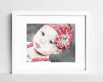 Custom Watercolor Portrait | Child Portrait | Commission Portrait Painting