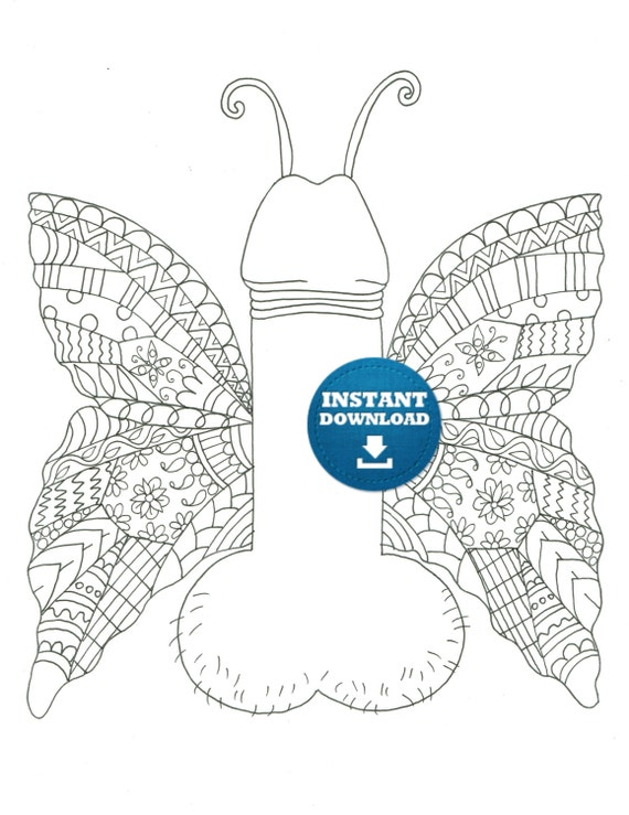 instant download butterfly penis coloring page naughty adult coloring book zentangle art printable cunt doodle xrated colouring page - Penis Coloring Book