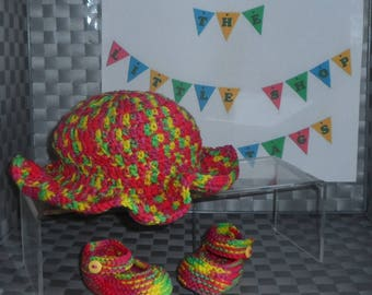 Mary Jane Shoes (Hand Knitted) and Sun Hat (Crocheted) Set - Multi-Coloured - 0-3 Months