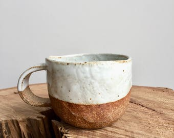 hand built ceramic cup / organic / partly glazed / food save / stoneware / without saucer