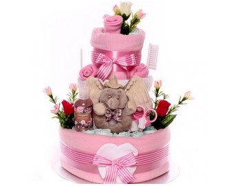 Dumbo Large Nappy Cake, Nappy Cake Baby Girl, Baby Girl Nappy Cake, Gift Baby Girl, large nappy cake, baby shower, maternity leave