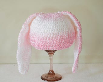Baby hat, Bunny hat, Baby bunny hat, Bunny ears hat, Easter bunny hat, Pink white bunny hat, Baby girl bunny hat, Photo prop, Ready to ship,