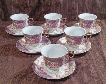Vintage Sanyuan fine porcelain Tea Cup set of 6, free shipping