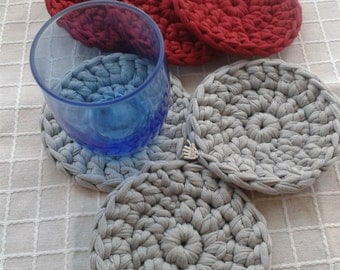 """Coasters of fabric """"trapillo"""", by hand (crochet), 6 units"""
