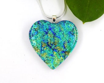 Multicoloured dichroic glass heart pendant