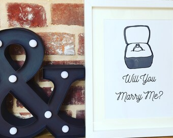Engagement gift, Marriage Proposal Wall Art, Will You Marry Me, Wedding gift, Engagement Ring, Wedding Proposal