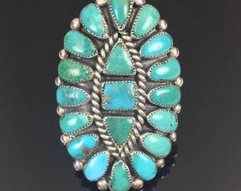 RESERVED - BEST Vintage Turquoise Cluster Ring Zuni or Navajo