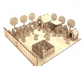 Wood farm/  Wood toy /  Dollshouse miniature