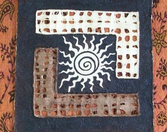 "SALE Original wall art Mexican Amate abstract tribal Sun Earth Sky handmade paper assembled and painted  with natural pigments 8"" x 8"""