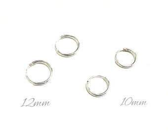 Sterling Silver Hoop Earrings | Cartlidge Earrings | 10mm and 12mm Hoop Huggie Earrings