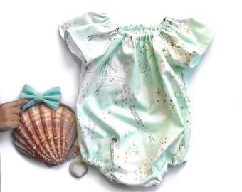The Little Mermaid Romper|| Pastel Romper||Flutter Sleeve Romper|| Fun Romper|| Summer Romper| Baby Onesie|| Mermaid Romper|| Baby Sunsuit||