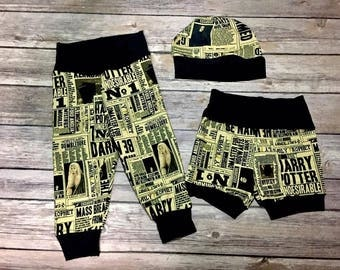 Harry Potter Daily Prophet baby clothes, pants, shorts, hats, coming home outfit, clothing set, new born, baby shower gift, geeky clothes