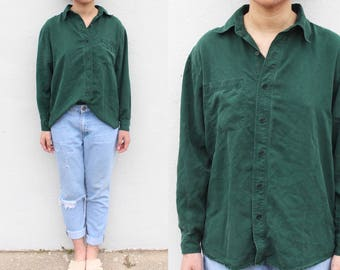 Forest Green Silk Button Up Blouse