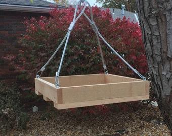 hanging cedar platform bird feeder platform squirrel feeder