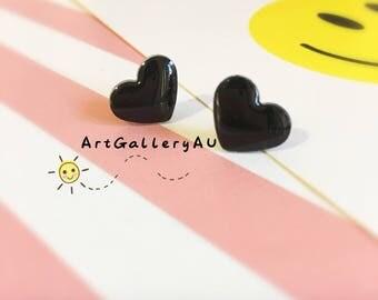 Kawaii black Heart Earrings, Cute black Heart Studs, Handmade Stud Earrings, Gift for Her