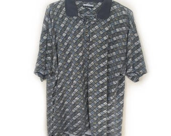 Geometric Patterned Polo Shirt by American Weekend - Green, Blue, White - Size L