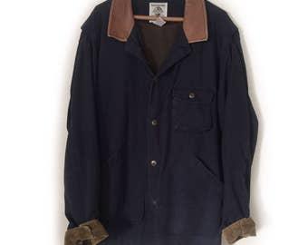 """1980s Bomber Jacket by Banana Republic  - """"Original Travel Clothing"""" - Blue & Corduroy - Large"""