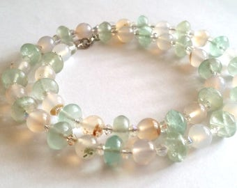 Common Opal, fluorite, gemstone necklace, Pearl necklace, stainless steel, transparent, green