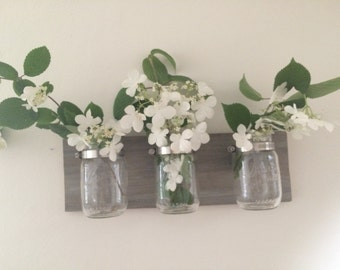 Mason jar vase, rustic home decor, mason jar decor, mason jar organizer, reclaimed wood decor, rustic, wall hanging, wall decor