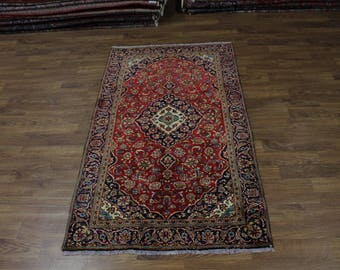 Traditional Hand Knotted S Antique Kashan Persian Rug Oriental Area Carpet 5X8