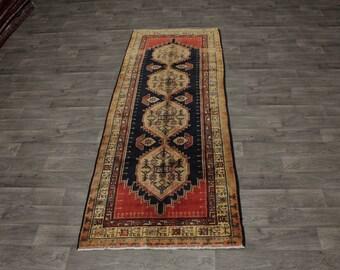 Hand Knotted Semi Antique Hallway Meshkin Persian Rug Oriental Area Carpet 4X10