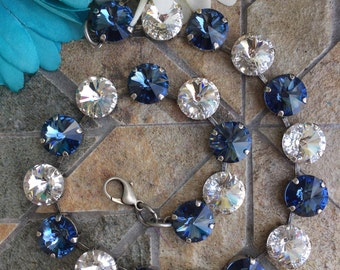 Swarovski crystal 12mm necklace with crystal and denim crystals.